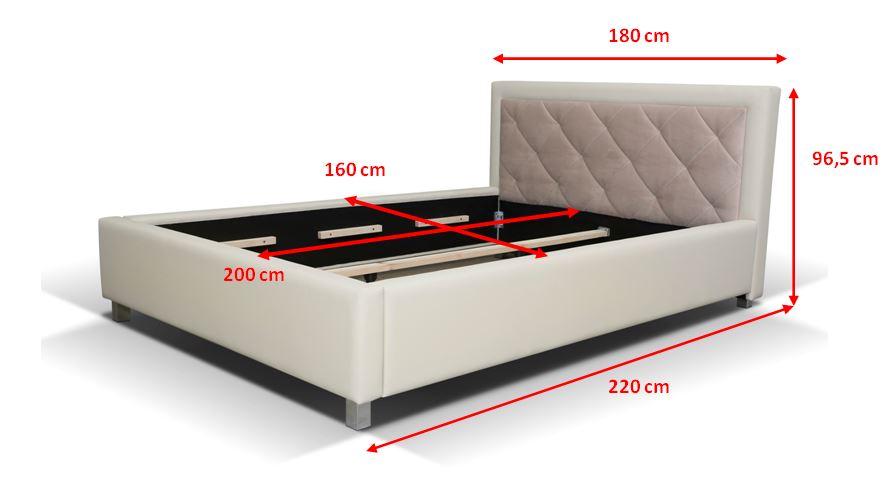 Čalouněná postel Sao Paulo - rozměry