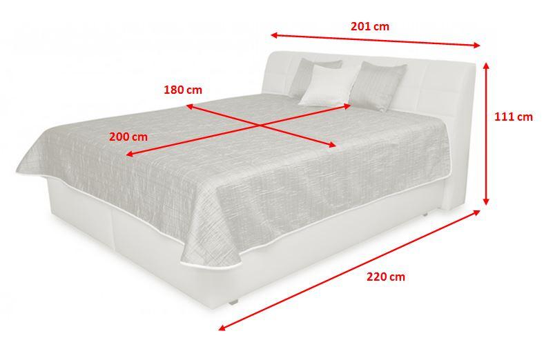Čalouněná postel Valencia - rozměry