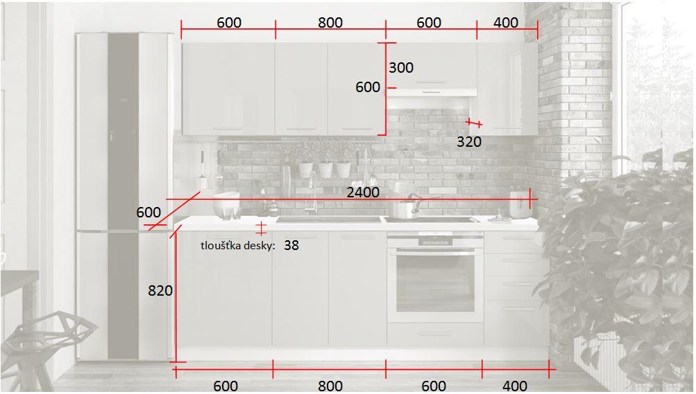 Kuchyně Emilia Lux - rozměry