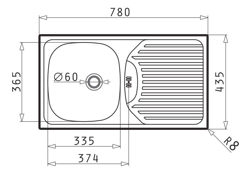 Dřez ET 78 Semiflat - rozměry