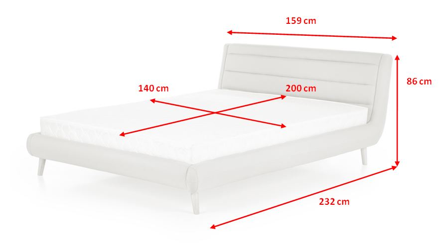Čalouněná postel Elanda - rozměry