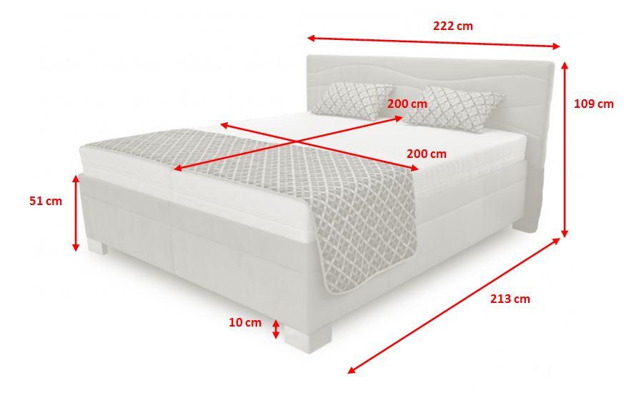 Čalouněná postel Windsor - rozměry