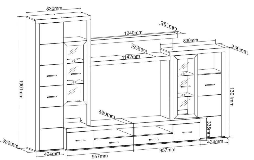 Obývací stěna New Atlantis - rozměry
