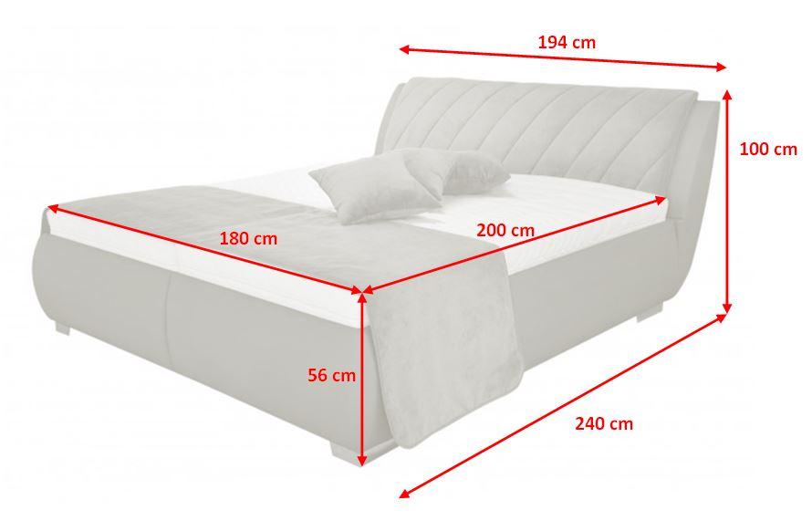 Čalouněná postel Grosseto - rozměry