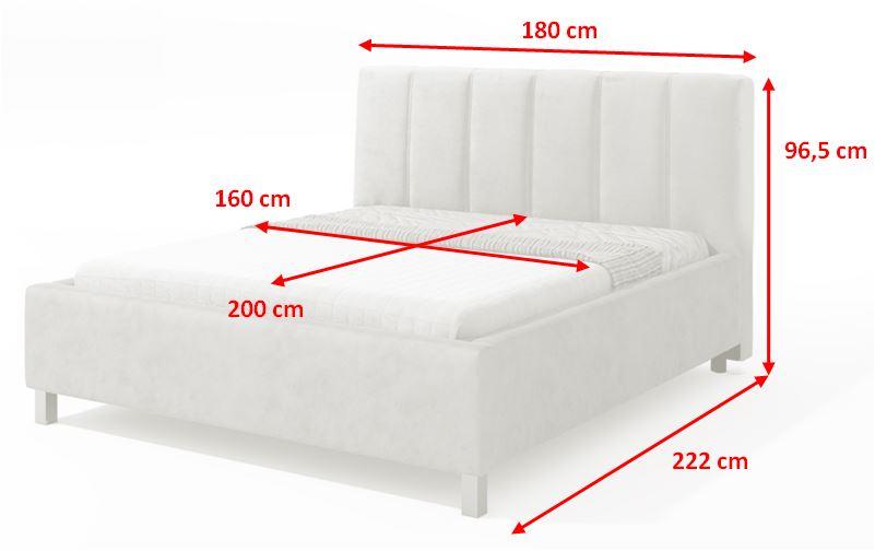 Čalouněná postel Boa Vista - rozmery