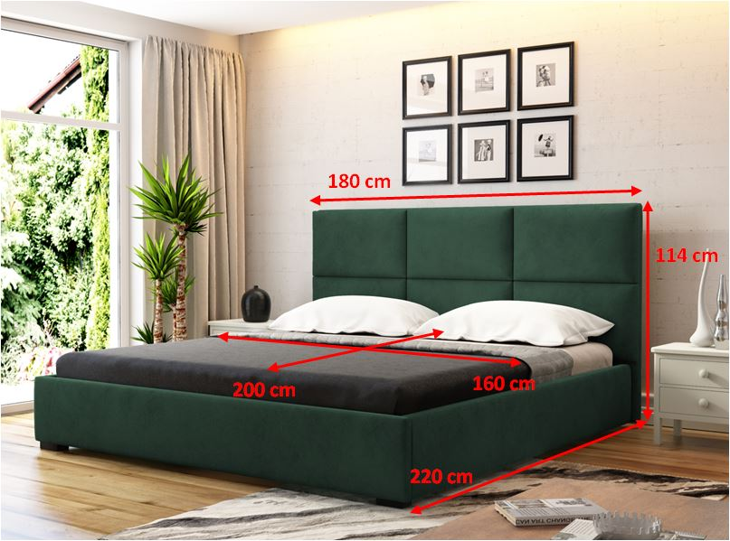 Čalouněná postel Storione - rozměry