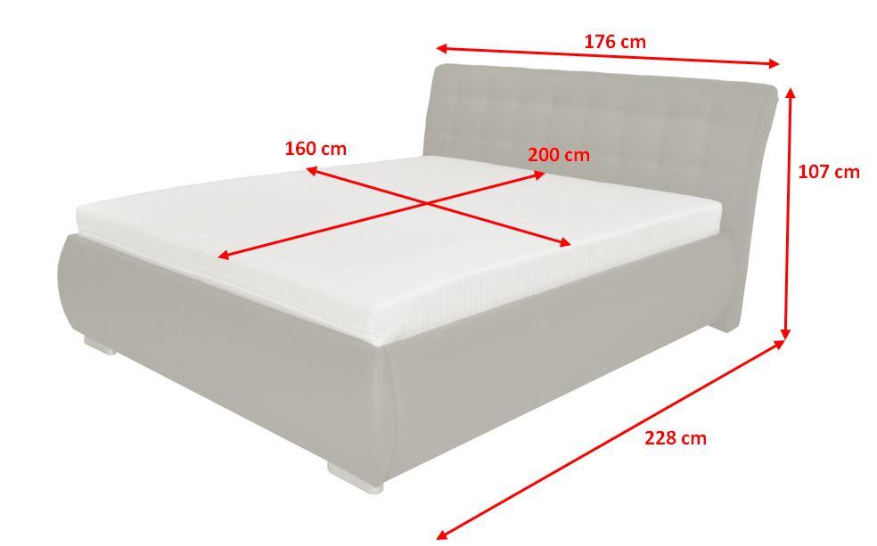 Čalouněná postel Tobago - rozměry