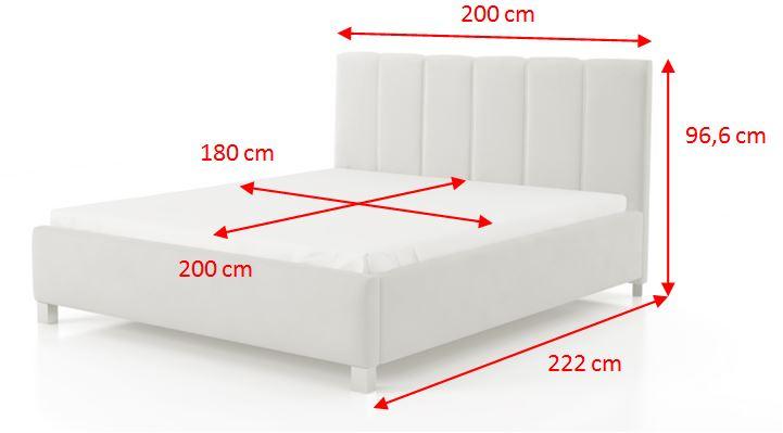 Čalouněná postel Boa Vista - rozměry