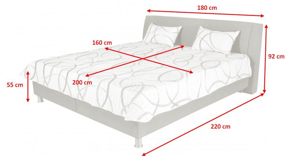 Čalouněná postel Discovery - rozměry