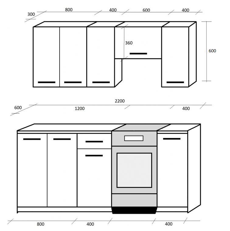 Rozmery bielej kuchyne Eco 220 cm