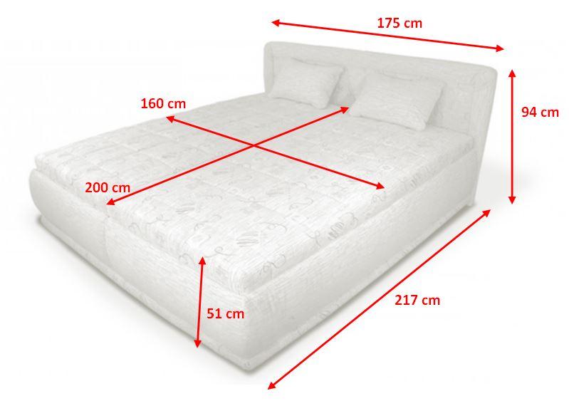 Čalouněná postel Harmonie - rozměry