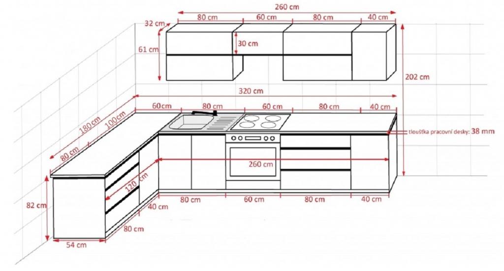 Rohová kuchyňa Line - rozmery