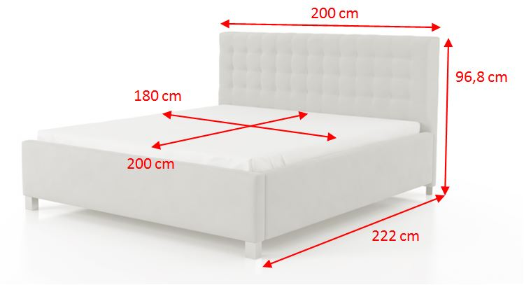 Čalouněná postel Monte Negro - rozměry
