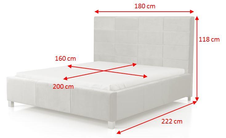 Čalouněná postel San Luis - rozměry