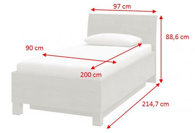 Rám postele Uno - rozměry