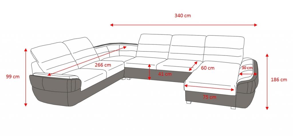 Rozmery sedačky v tvare U Ascoli
