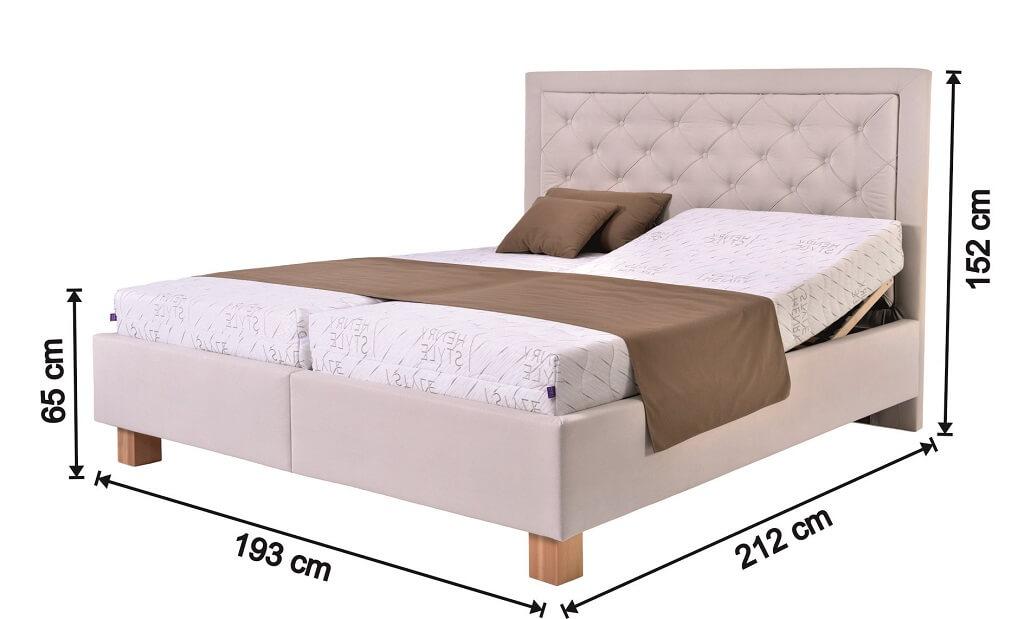Čalouněná postel Elizabeth III. - nákres s rozměry