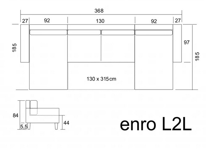 Rozmery sedačky tvaru U Enro