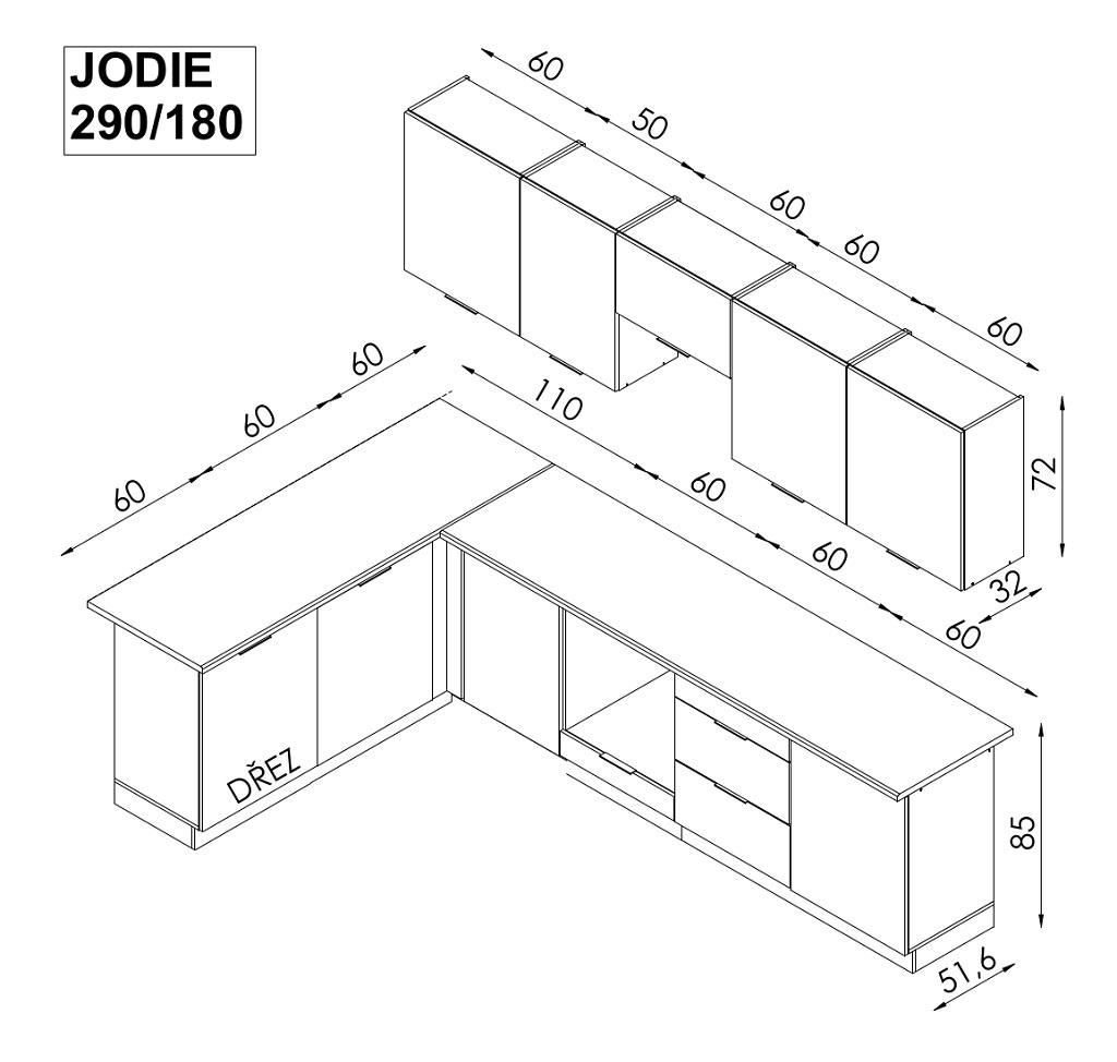 Nákres kuchyne Jodie