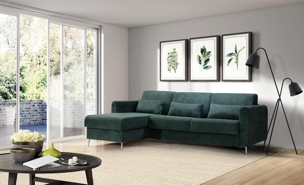 zelená rohová sedačka Sia v interiéri