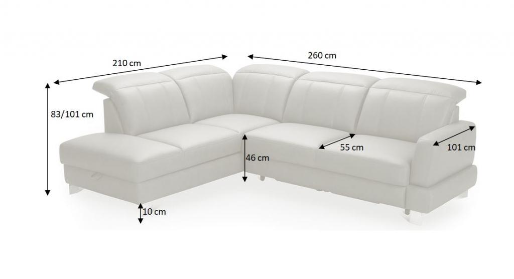 Nákres s rozměry sedací soupravy Maranello