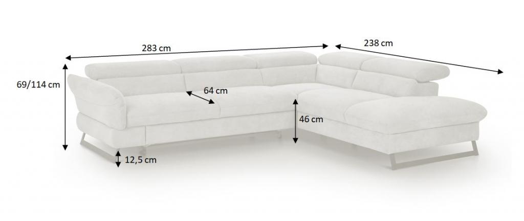 Nákres s rozmermi rohovej rozkladacej sedačky Naples