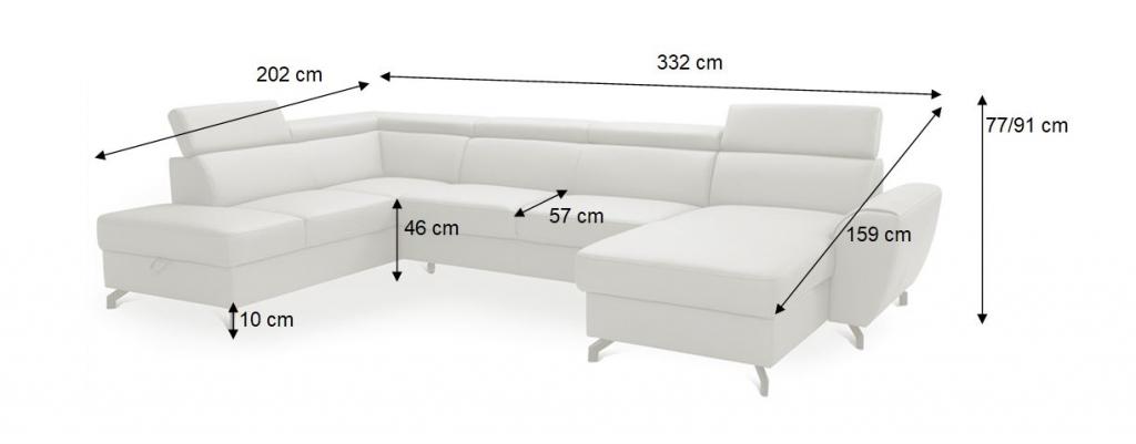 Nákres s rozměry sedačky do U Monako 2