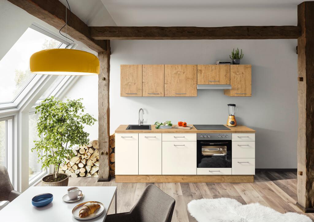 Biela kuchyňa s drevom Heidi