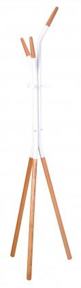 Stojanový vešiak v drevenom a bielom dekore