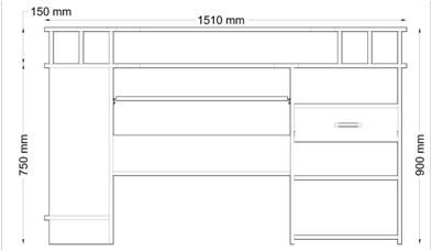 Rozmery PC stola P4
