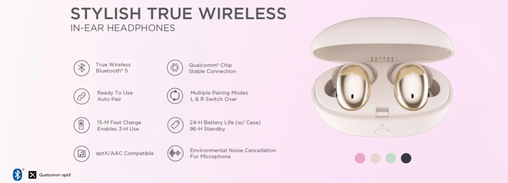 True Wireless Slúchadlá 1MORE Stylish Truly Wireless Headphones (TWS) Gold