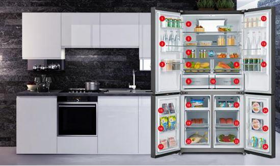 Americká chladnička v kuchyni Toshiba GR-RF646WE-PMS