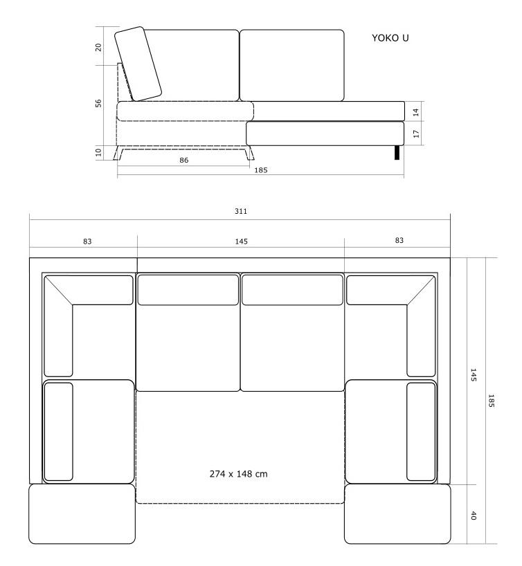 Rozmery sedacej súpravy v tvare U Yoko