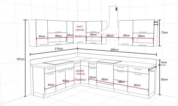 Kuchyně Marina - rozměry