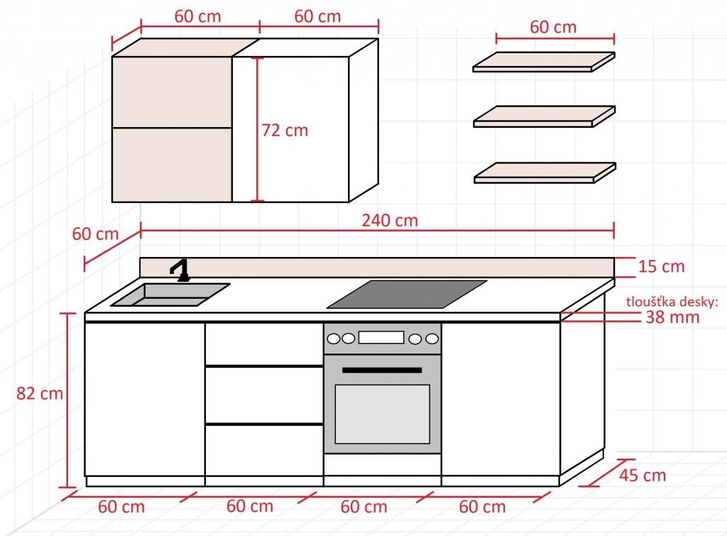Rozmery bielej kuchyne s drevom Elza 240 cm