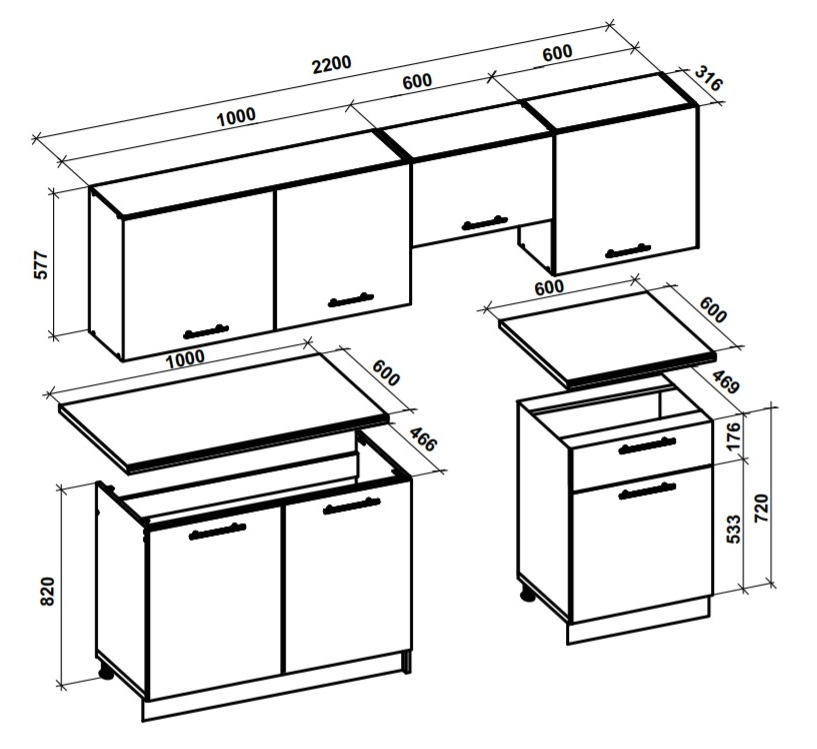 Rozmery sektorovej kuchyne Katia 220 cm