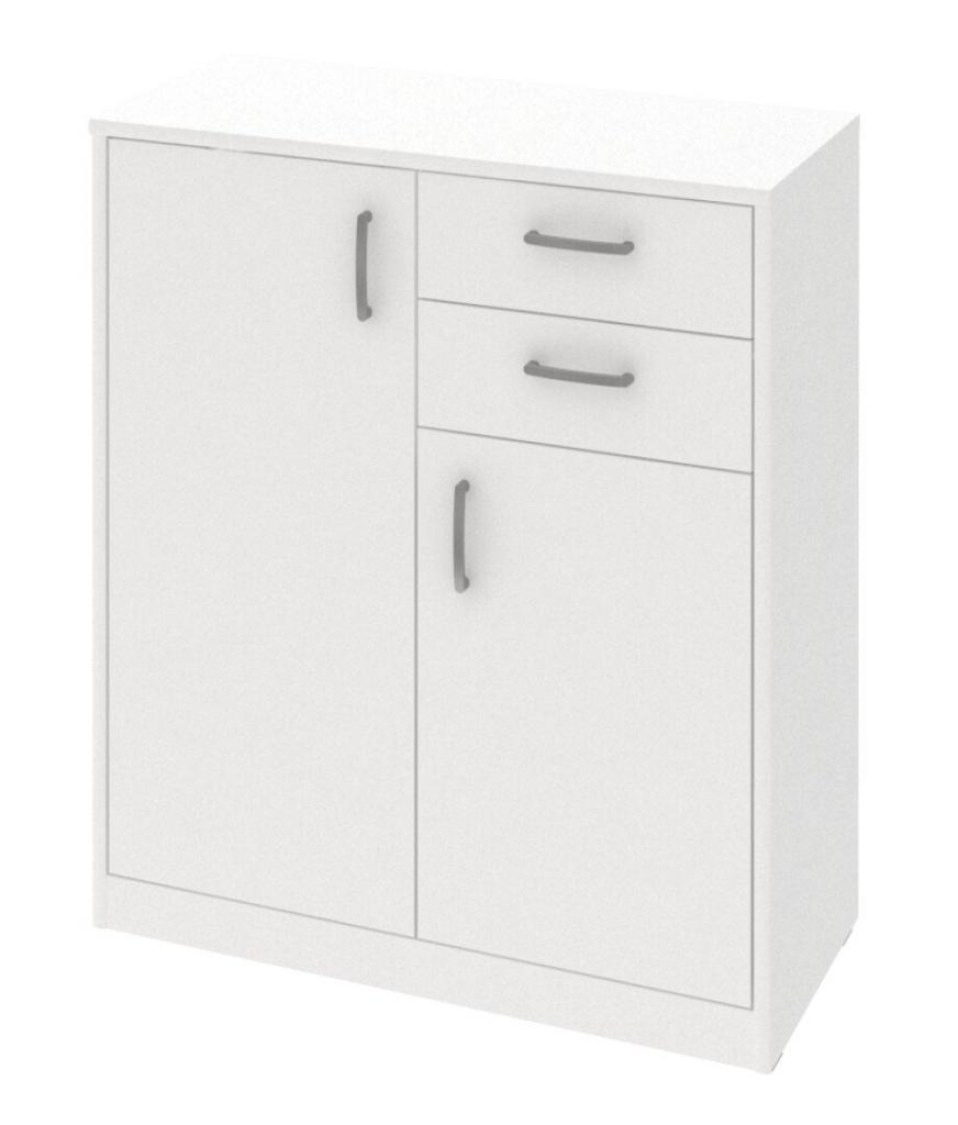 Biela komoda Kobo 2 dvere, 2 zásuvky