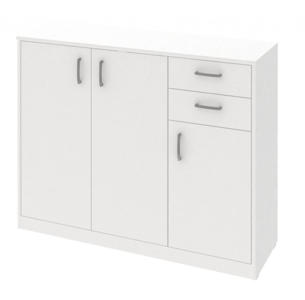 Biela komoda Kobo 3 dvere a 2 zásuvky