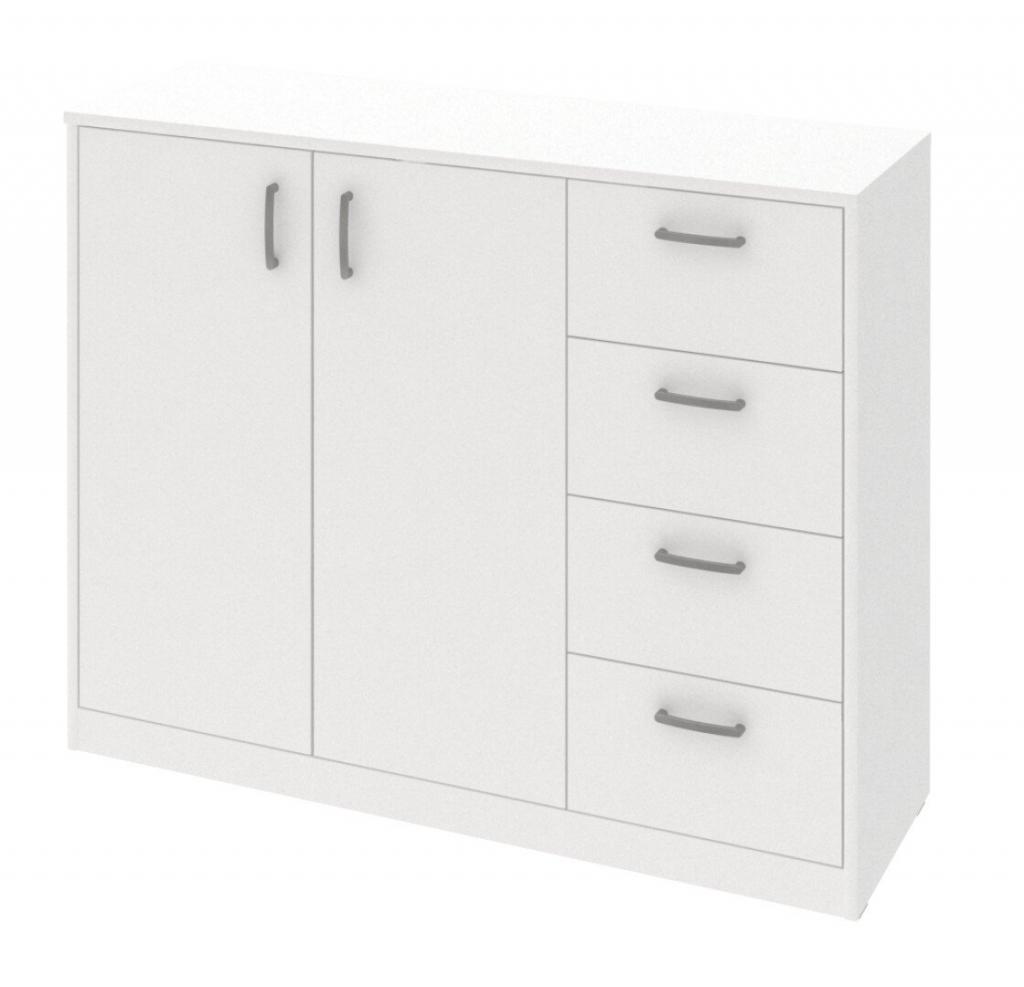 Biela komoda Kobo 2 dvere, 4 zásuvky