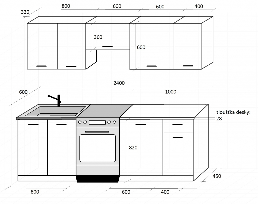 Rozmery sektorovej kuchyne Daria 240 cm