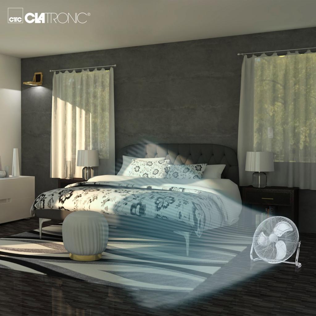 Podlahový ventilátor Clatroic v spálni