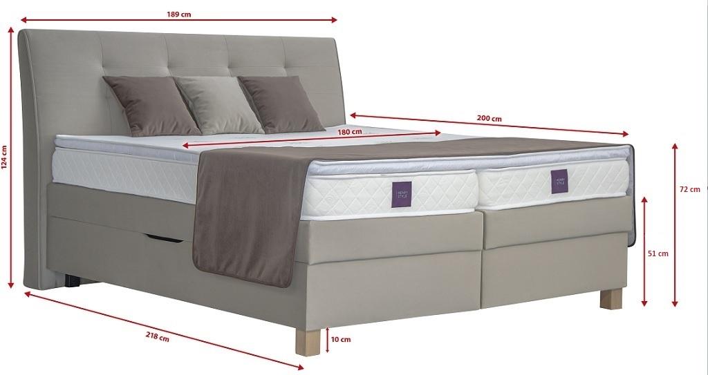 Rozměry postele Boxspring Charles