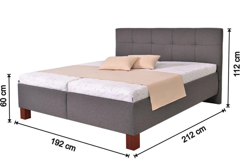 Rozměry čalouněné postele Mary