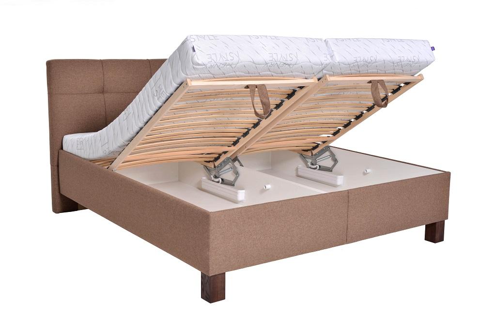 Čalouněná postel Mary - detail úložného prostoru
