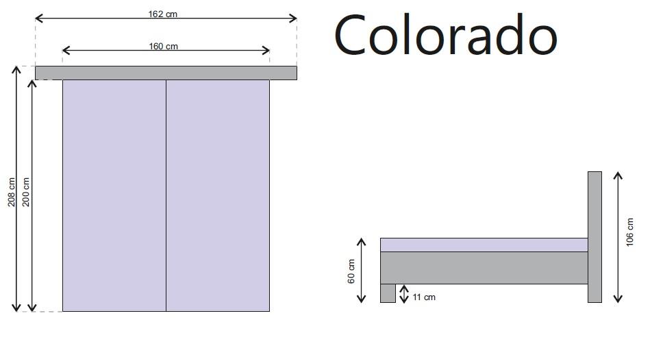 Rozmery postele Colorado