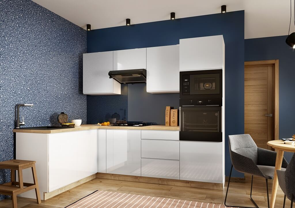 Biela rohová kuchynská linka Lisse v interiéri