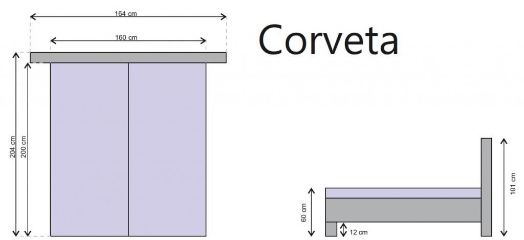 Rozmery čalúnenej postele Corveta