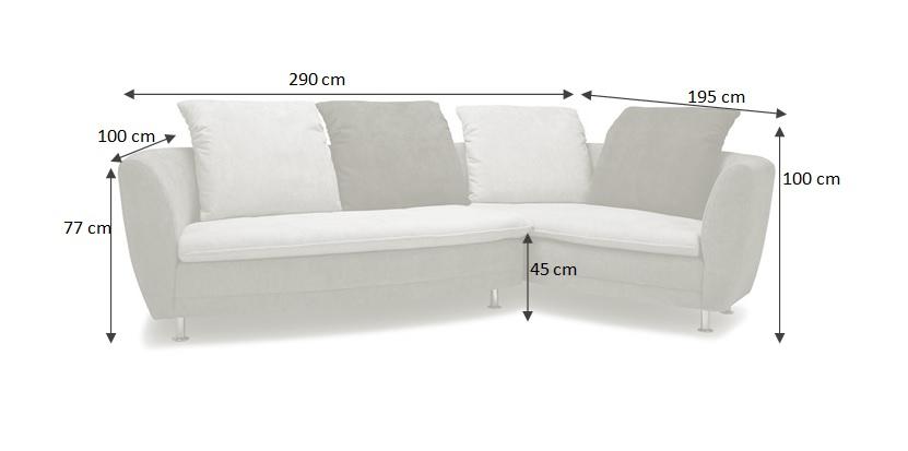 Rozměry sedačky Bonn