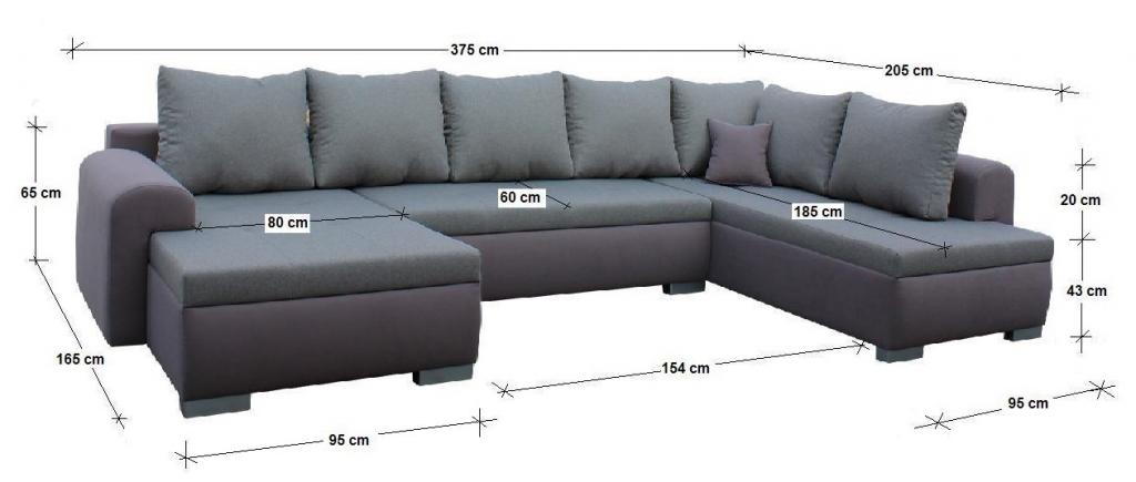 Rozmery sedačky v tvare U