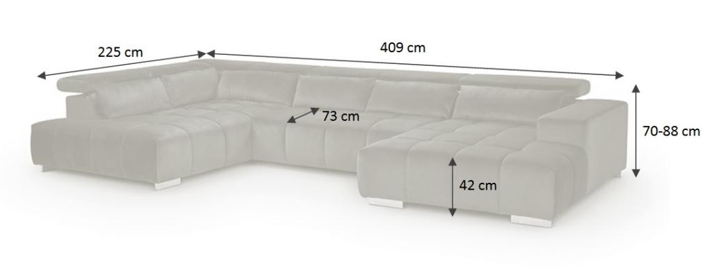 Rozměry sedačky Treviso
